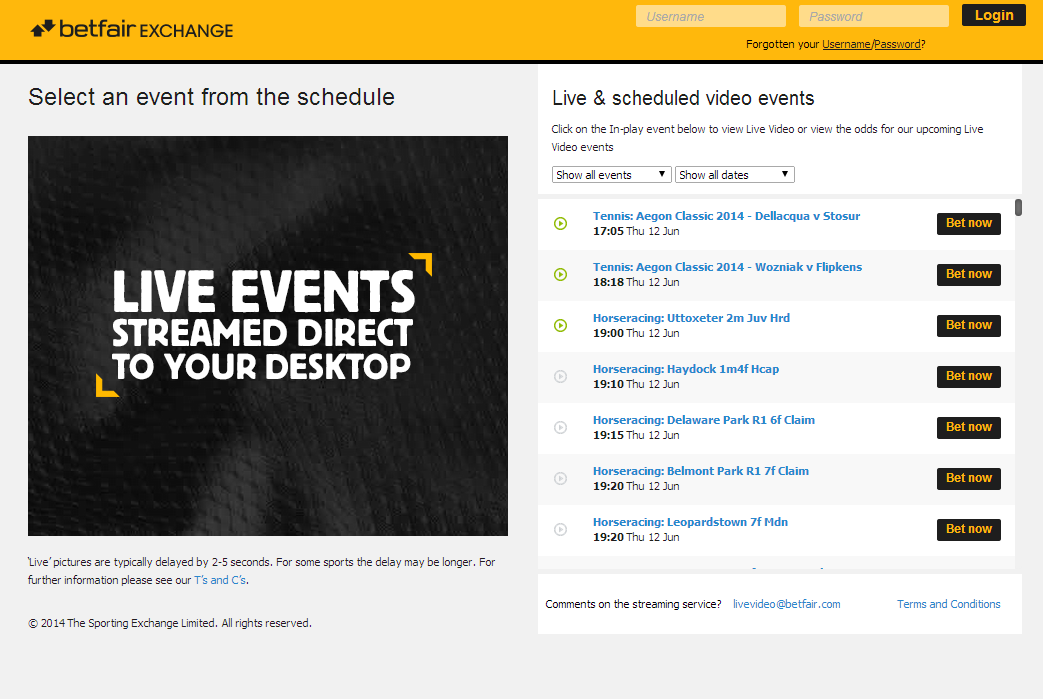 Betfair Live Events