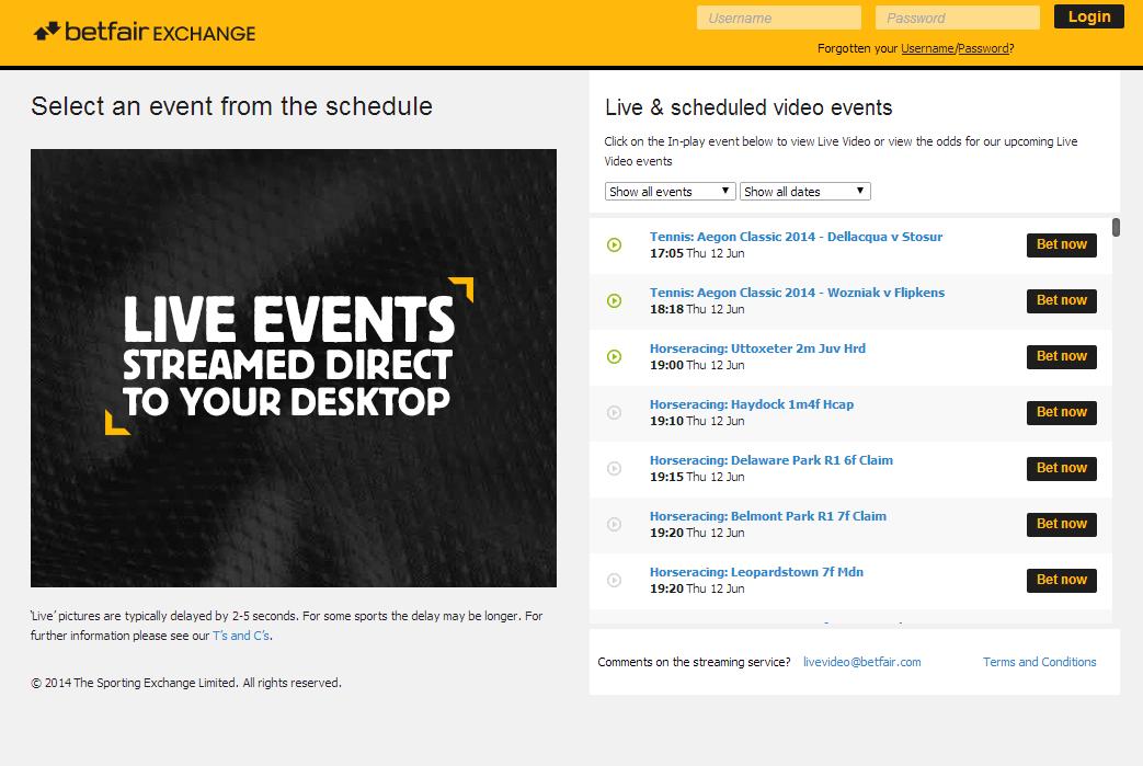 Betfair Live Events