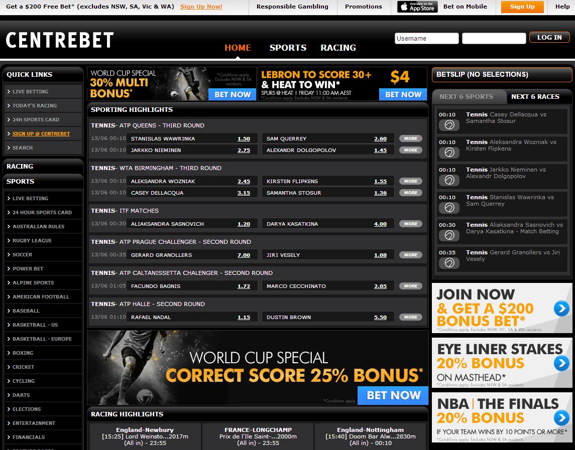Centrebet Home page