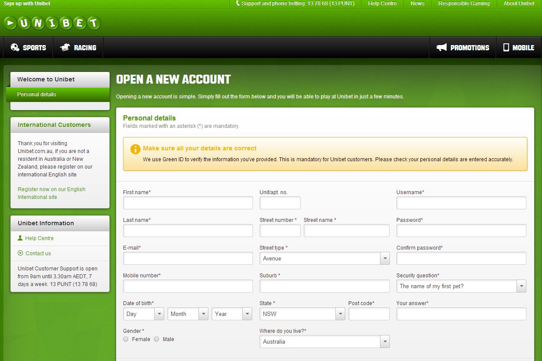Unibet Register form