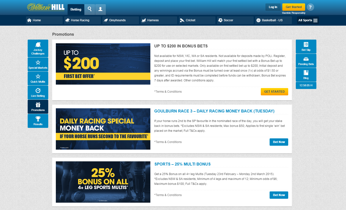 William Hill betting promotions