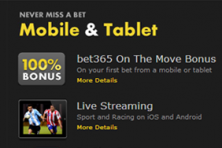 Bet365 Mobile betting experience